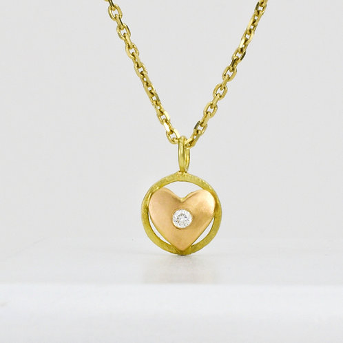 Heart Pendant With Diamond in 18K Rose and Yellow Gold