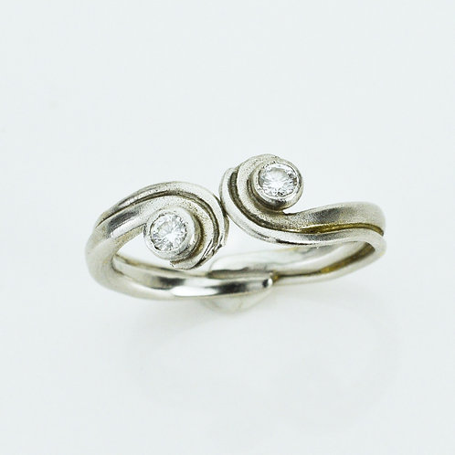 Platinum Diamond Wave Ring