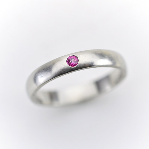Platinum Ring With a Pop of Pink