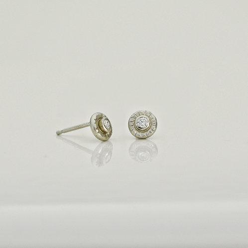 Mini Platinum and Diamond Stud Earrings