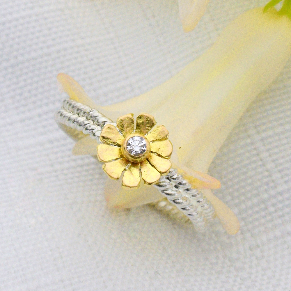 promise ring in gold with silver, promise ring with diamond