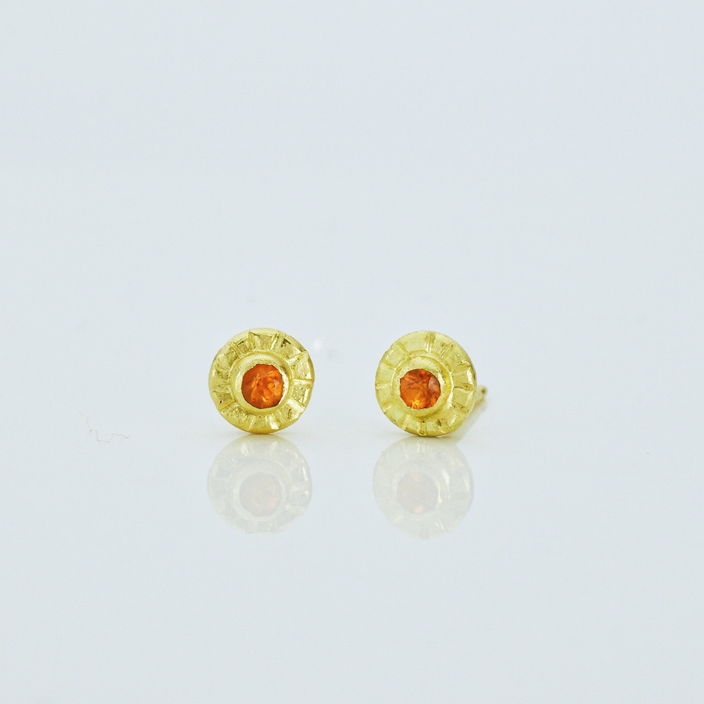 18k gold earrings with mandarin garnets