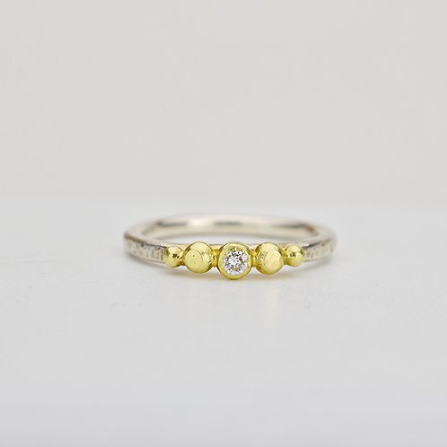 Sterling and 18k Pebble Ring With Diamond
