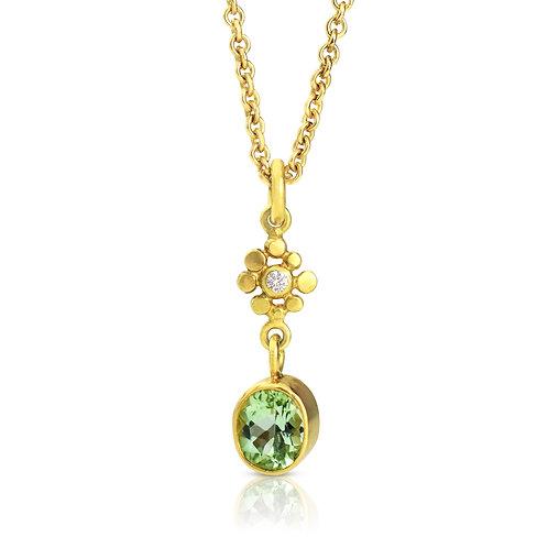 Tormaline and Diamond Pendant