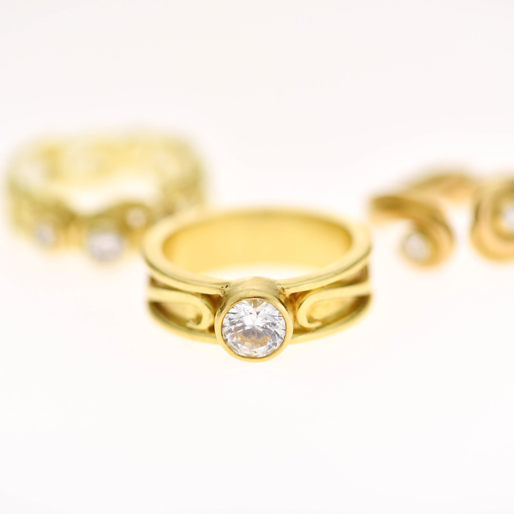 18k gold and diamond rings handmade in New Hampshire