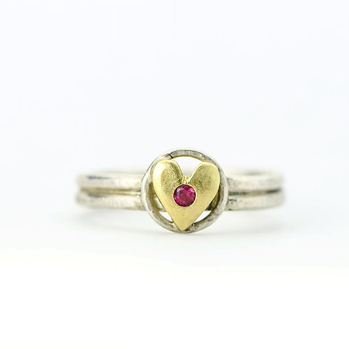 Gold Heart Ring With Faceted Ruby