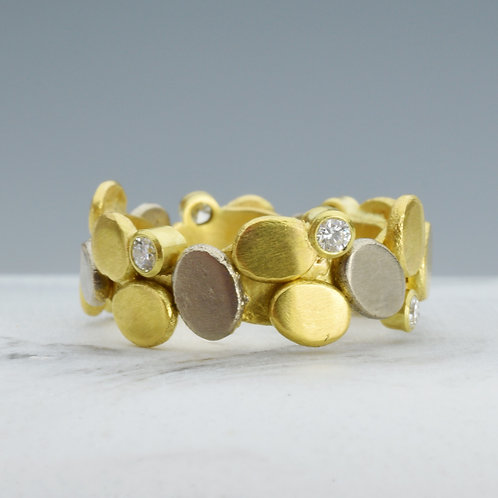 "Gold and Diamond ""Cobblestone "" Ring"