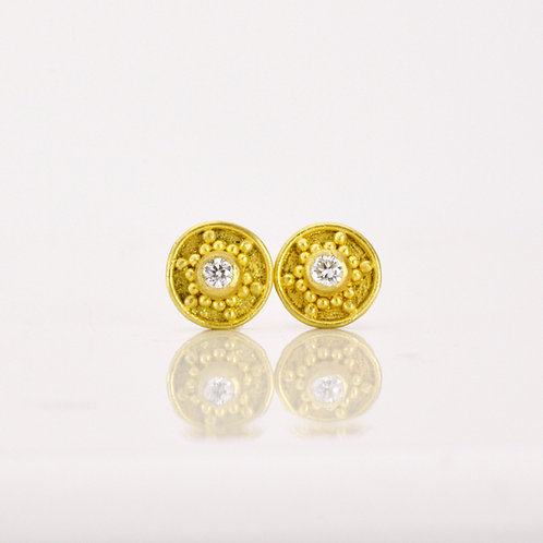 Diamond and 22k Gold Star Stud Earrings