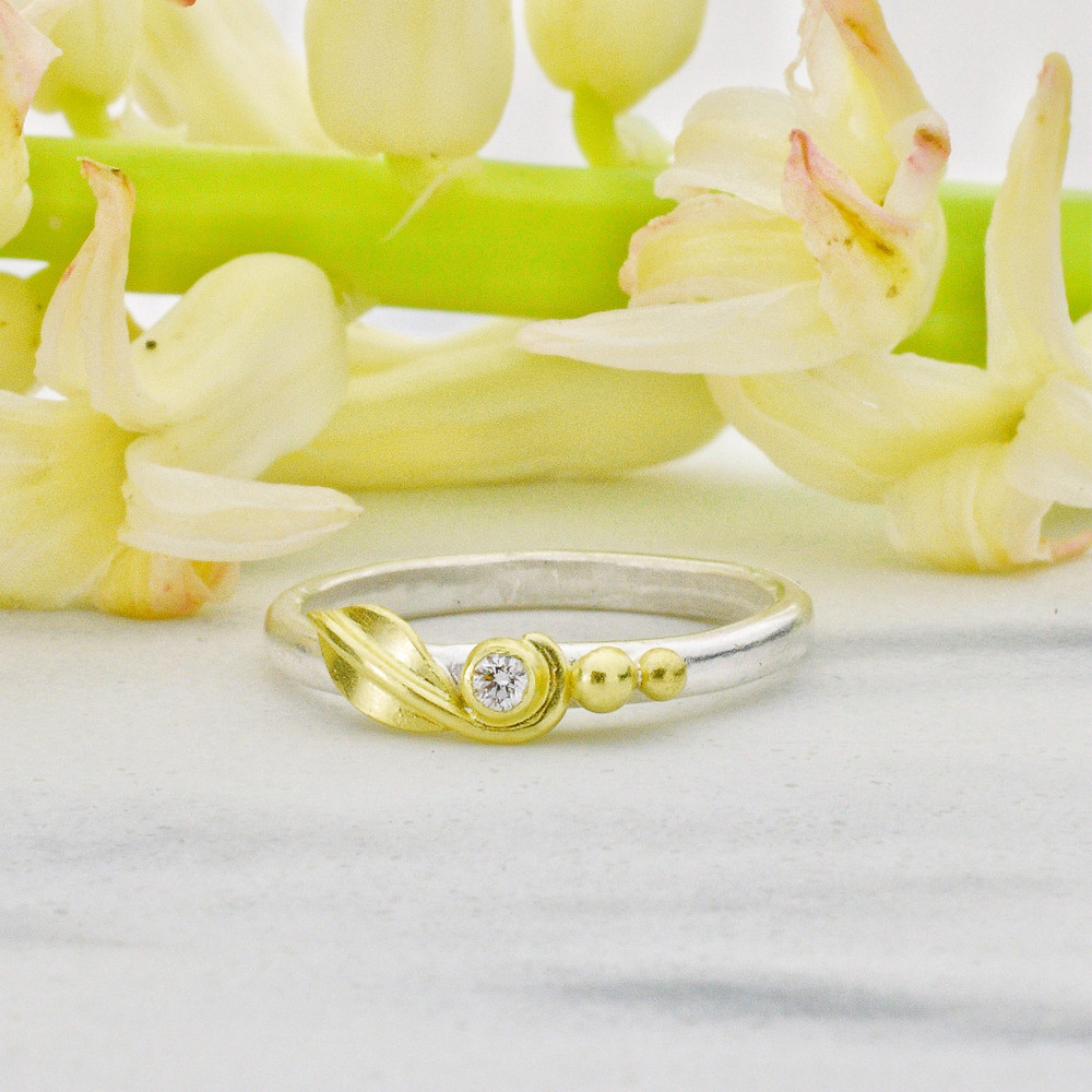 gold and silver diamond ring, gold promise ring