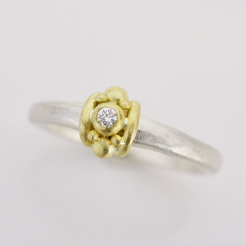 Silver and 18K Gold Roman Ring