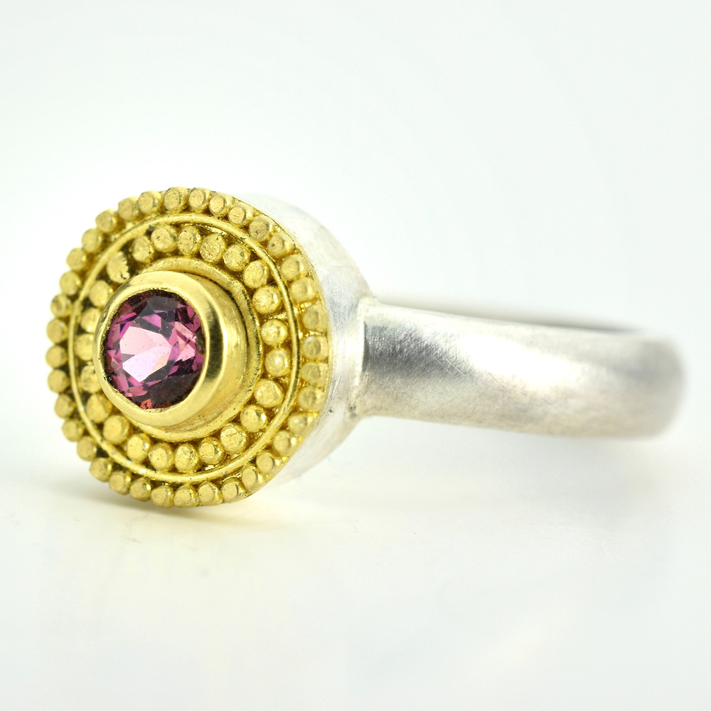 garnet ring in 22k gold and silver