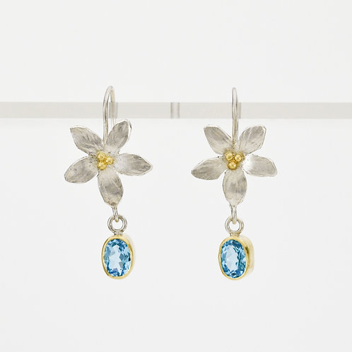 Flower Earrings With Topaz