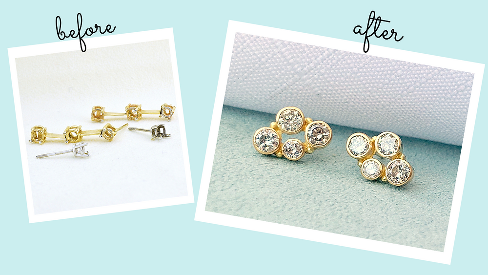 custom diamond earrings in gold