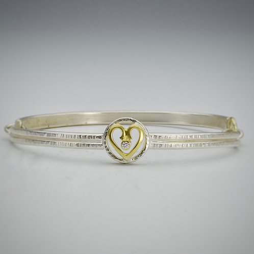 Gold and Silver Heart Bracelet With Diamond