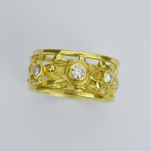 "18k Gold Ring With Diamonds ""The Layered X Ring"""