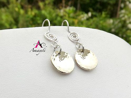 Sterling silver earrings, silver drop earrings, hammered disc earrings, minimali