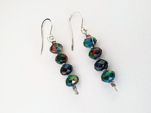 Painted glass dangle earrings sterling silver