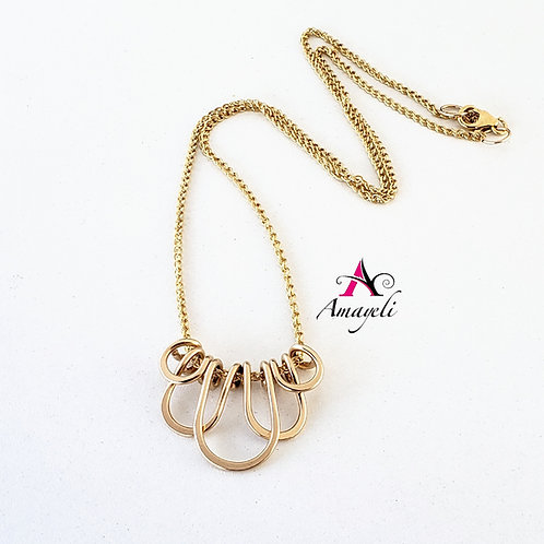 Layered loop gold filled handcrafted necklace