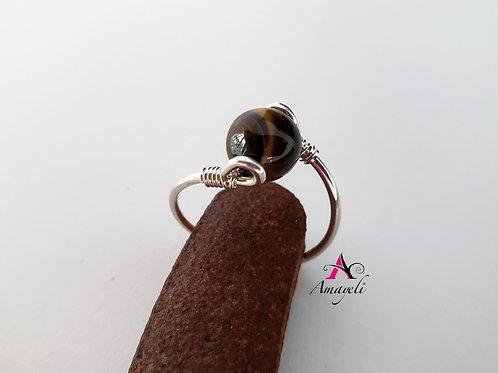 Tigers eye gemstone ring choose metal, silver, gold, rose gold hamdmde