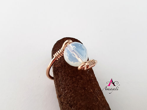 Faceted opalite ring, choose metal, choose size