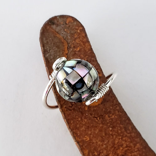 Abalone shell ring choose metal and size