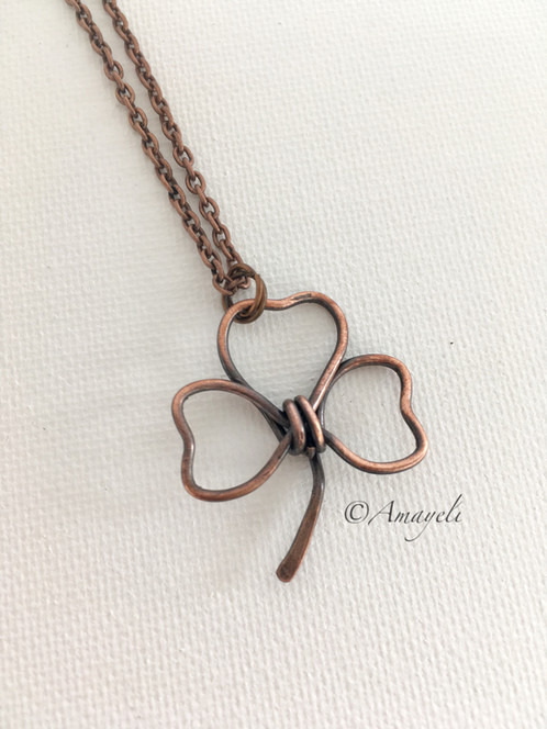 Copper shamrock pendant necklace the smaller more simple version of my wire wrapped shamrock pendants this pendant is hand formed with solid copper wire and oxidized for detail aloadofball Images