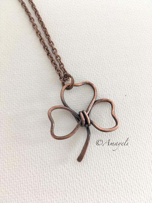 Copper shamrock pendant necklace