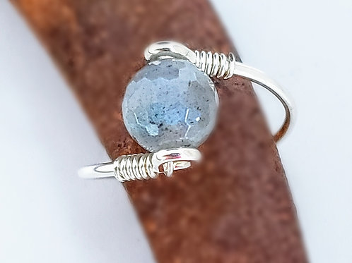 Faceted labradorite ring choose metal and size