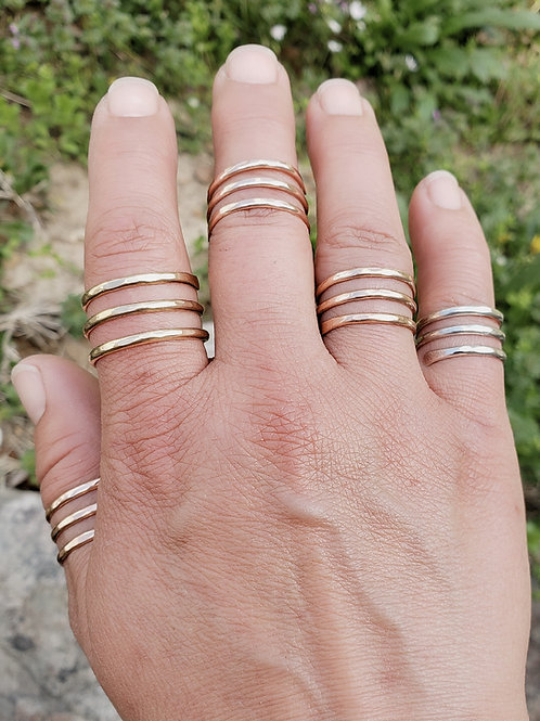 Wrap around ring stack look midi ring silver gold rose gold