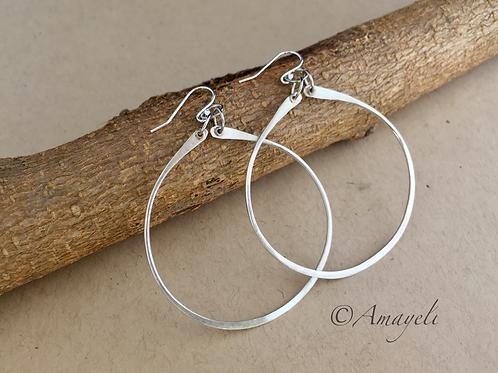 Large sterling silver hammered handmade hoop earrings