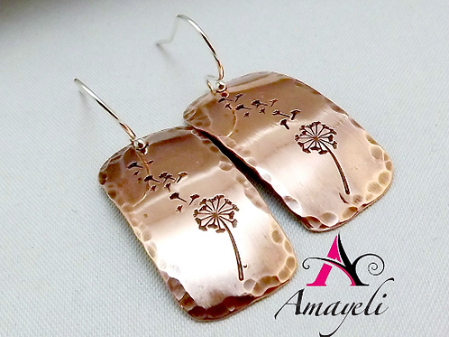 Dandelion earrings, copper earrings, rectangle earrings, hand stamped jewelry
