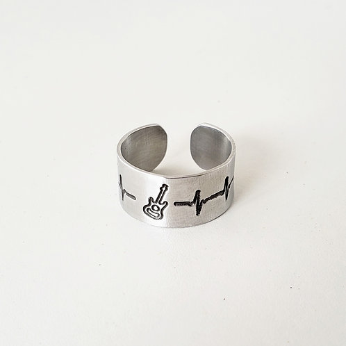 Heartbeat cuff ring personalize with hobbies