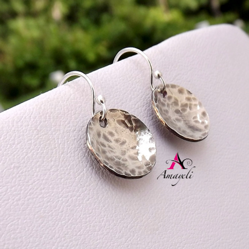 Sterling silver earrings, Hammered circle disc earrings, Rustic silver earrings