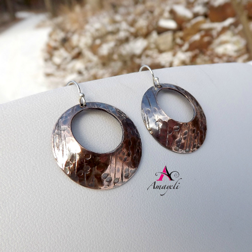 Hammered textured domed copper artisan hoops hoop earrings