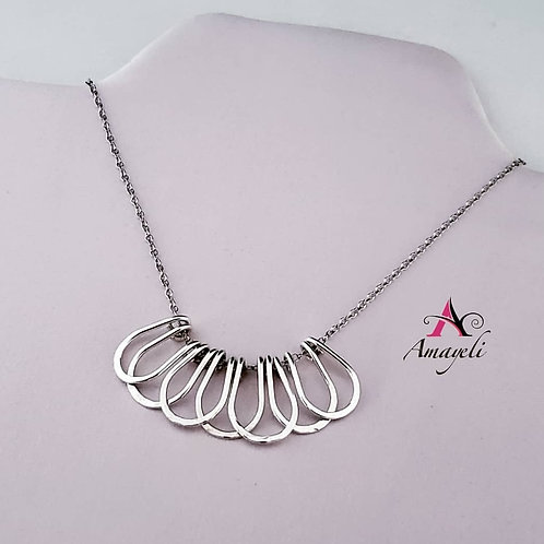 Sterling silver metal ruffle look necklace,minimalist silver necklace