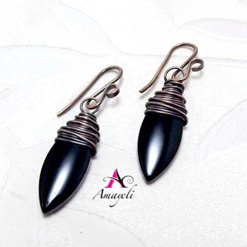 Black dagger wire wrapped statement earrings