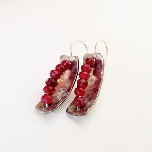 Sterling silver and ruby quartz handmade earrings