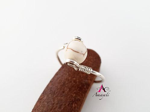 White howlite gemstone ring choose metal choose size