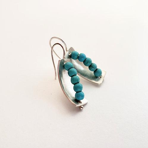 Sterling silver turquoise rectangle handmade earrings