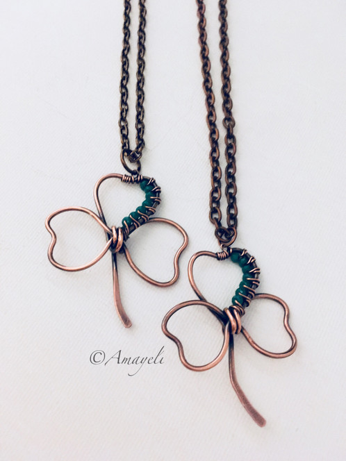 Shamrock pendant necklace copper wire wrapped amayeli handmade wire wrapped shamrock pendant copper necklace each of these adorable shamrocks are hand formed to order with solid copper wire mozeypictures Image collections