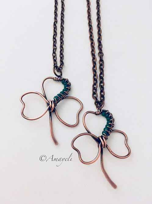 Shamrock pendant necklace copper wire wrapped