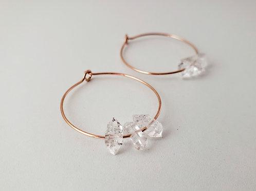 Herkimer diamond and rose gold hoop earrings