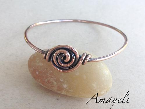 Solid copper rose bangle bracelet