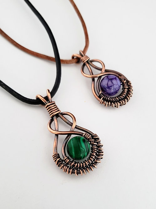 Infinity copper wire wrapped gemstone pendant choose stone