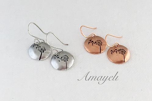 Small metal dandelion earrings silver or copper