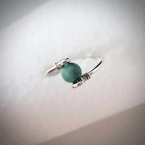 Genuine turquoise gemstone ring choose silver gold or rose gold