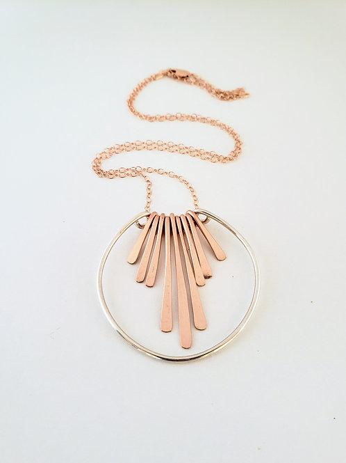 Mixed metal fringe pendant necklace