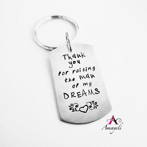 Mother In law gift, wedding gifts hand stamped personalized key chain