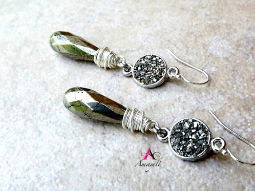 Pyrite teardrops and crushed druzy earrings