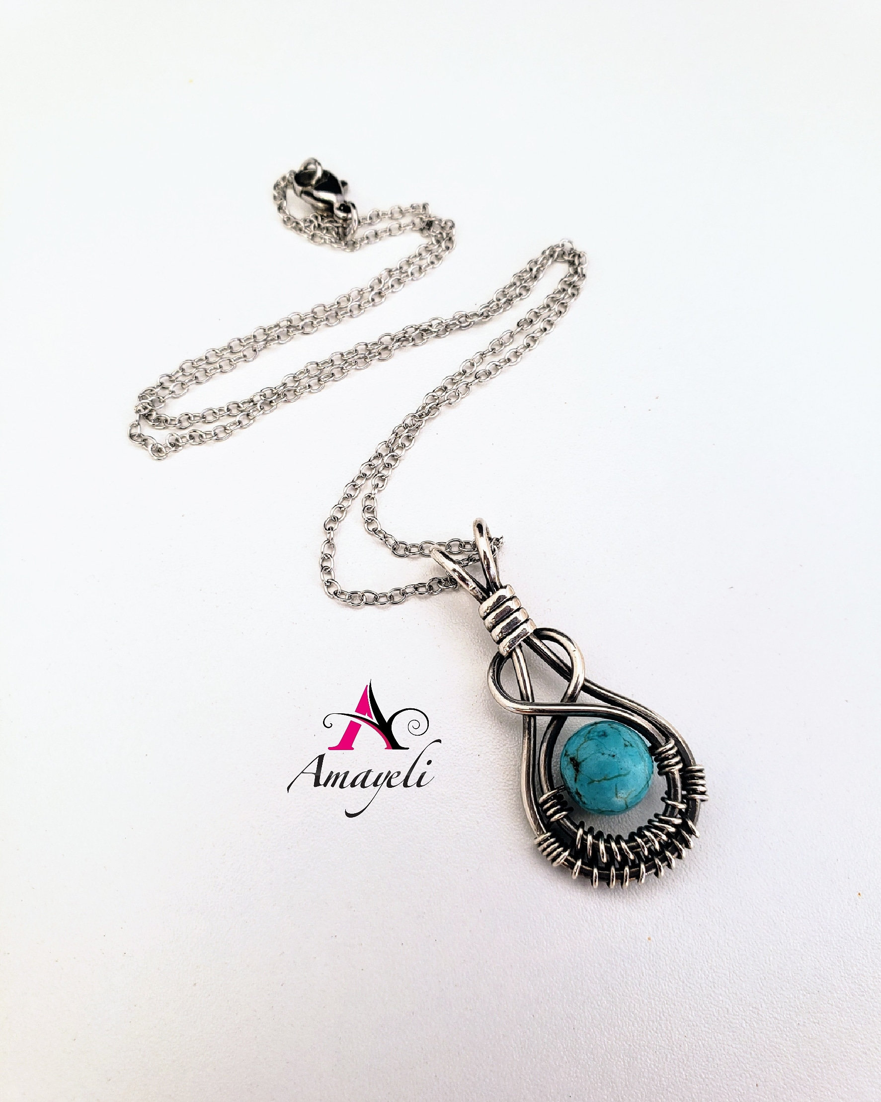 Jade Sterling Silver chain included and Opalite Psychic Protection Amulet wrapped in Sterling Silver wire with 18 in Labradorite